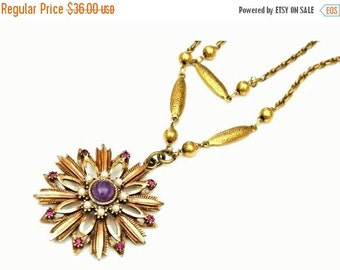 Flower Pendant necklace  purple amethyst glass  cabochon pearl gold tone floral signed Hms Maderira Creation