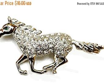 Horse  Brooch clear Rhinestone silver Equestrian pin