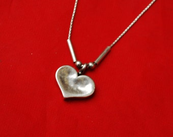 Sterling Heart Pendant Necklace - sterling silver chain - Signed Dioce 925