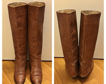 Women's Size 8 1/2 Brown Leather Boots Vintage Designer Walter Steiger Tall Heeled Boots Textured Leathe Knee High Boots