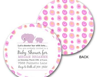 Circle, Baby Shower Invitations, Baby Elephant Invitation,Polka Dots, Die Cut Invitation (sample ONLY)