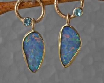 Australian Black Opal Earrings in 18K Gold- Black Opal Earrings - Opal Earrings in Gold- Black Opal on Post, Black Opal Statement Earrings