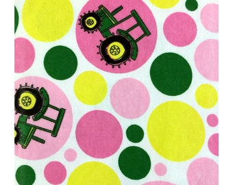 John Deere Polka Dot Tractor Flannel Fabric by Troy Corporation