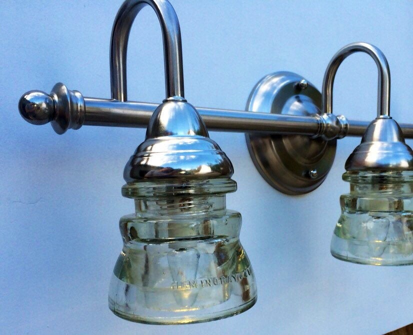 3-light Chrome Vanity Fixture With Clear Glass Insulators