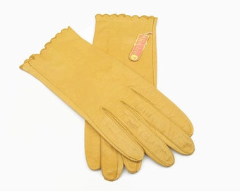 Vintage Miss Aris Leather Gloves Lemon Yellow New Never worn Size 7