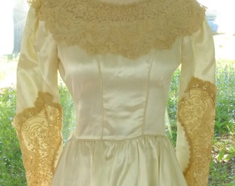 Antique Lace Wedding Dress 1800's Lace - Heavy Off White Satin - Handmade in 1950's By A Custom Dressmaker