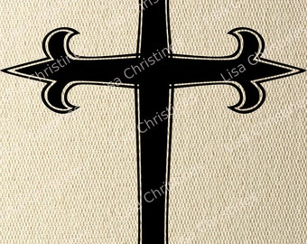 Cross, Easter Illustration, Instant Download, Clipart, Digital Transfer Image for Papercrafts, Pillows, Fabric, Iron on Transfer 234