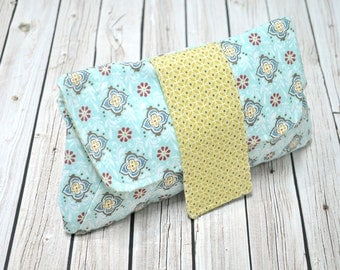 Diaper Clutch - Cosmetic Bag - Blue and Yellow - Clutch for Diapers - Magnetic Closure