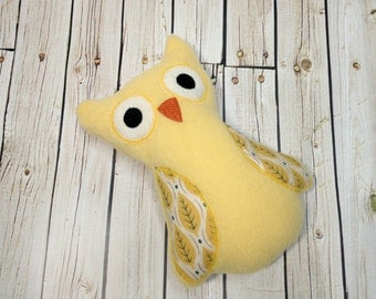 Gender Neutral Owl - Plush Baby Toy - Small Stuffed Animal - Baby Owl Gift - Yellow Owl