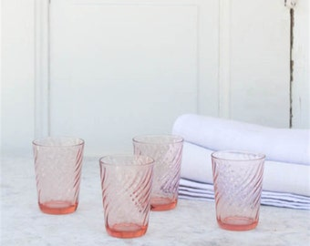 Pretty Pink Vintage Juice Glasses