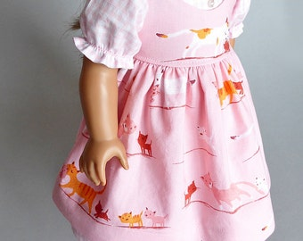 Prairie-style dress and pinafore for American Girl dolls: pink, kitties, gingham, cats