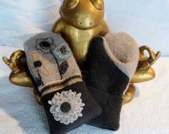 Adult Mittens - Brown & Tan Embroidered with Button Flowers