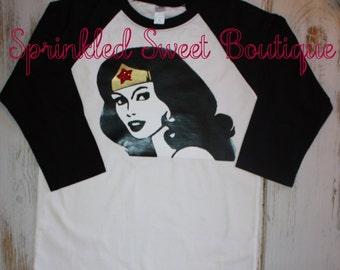 Wonder Woman Superhero Custom Raglan Shirt Womens Mens Kids Girls Birthday Can Personalize Add Monogram
