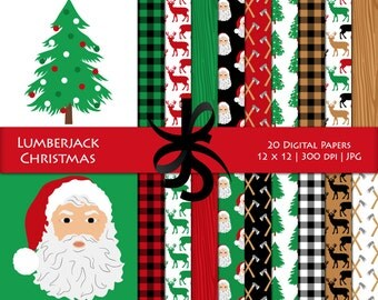 Digital Scrapbook Papers-Lumberjack Christmas-Lumberjack-Holiday Papers-Buffalo Plaid-Santa-Background-Printable-Instant Download Clip Art