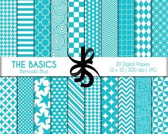 Digital Scrapbook Papers-The Basics-Bermuda Blue-Turquoise-Geometric-Basic Patterns-Background-Wallpaper-Printable-Instant Download Clip Art
