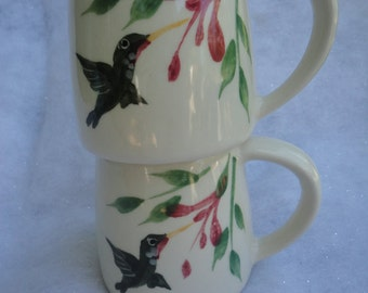 Vintage Pair of Emerson Creek Pottery Hummingbird Pottery Coffee Mugs, Hummingbird Coffee Mugs, Summetime Mugs, Emerson Creek Pottery Mugs