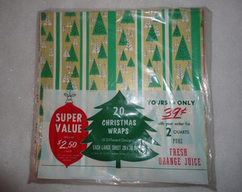 Vintage Unused Unopened Super Value Christmas Wraps 10 Different Designs Large Sheet Christmas Paper Xmas Wrapping Paper