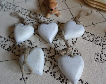 5 Pieces-Rustic Whitewashed Wood Heart Ornaments-Decorate/Tree/Gift Tag/Craft
