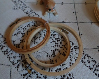 Vintage Wood/Wooden Cross Stitch/Crewel Hoop Lot of Three-Sew/Craft/Embroidery