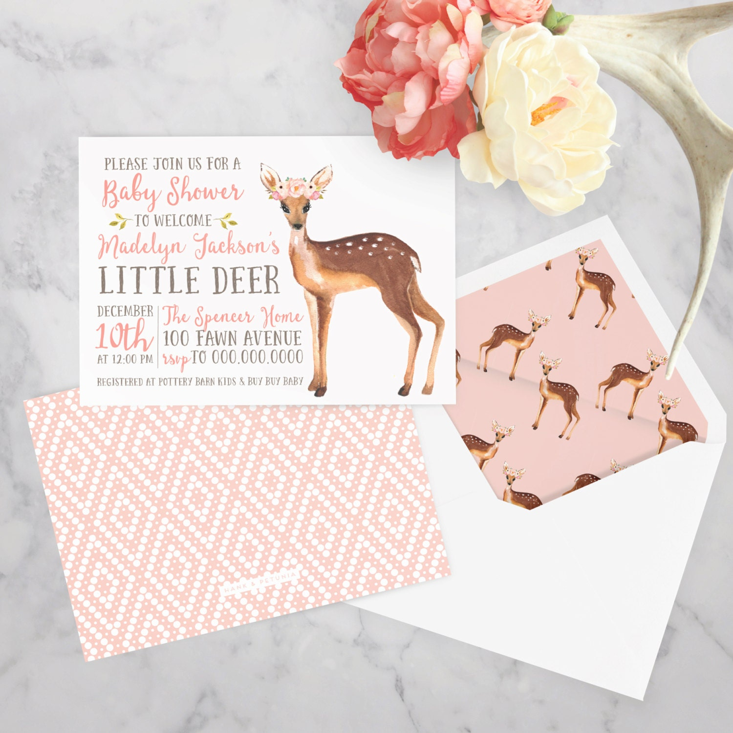 Little Deer Watercolor Baby Shower Invitation, Fawn Baby Baby ...