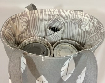 Mason Jar Carrier Bag - Pint 2-jar Jars to Go - Grey feather and woodgrain lunch tote cozy