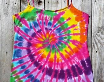 XL Tie Dye Tank Top, Women's XL Rainbow Cami, Yoga Tank, Hippie Top,  Deadhead, Festival, Ready to Ship