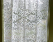 Window Curtain Panel - White Lace Curtain - Vintage Lace Panel - Top Valance - Large Curtain Panel - Luxurious Lace Curtain - Window