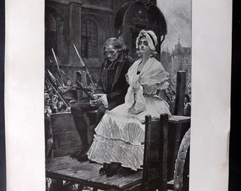 Cobham Brewer 1892 Print. Marie Antoinette on her way to the Guillotine