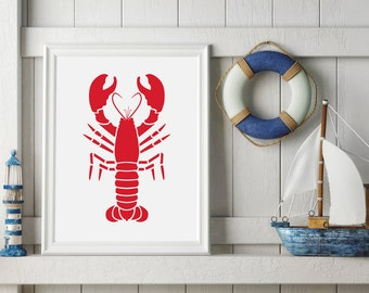 Printable Nautical Lobster - Red Nautical Nursery Sign - Digital Download - Lobster