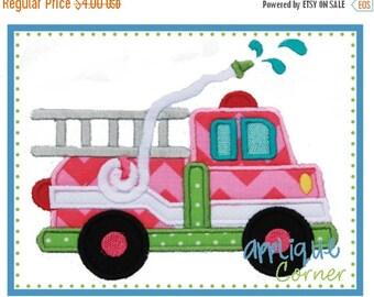 ON SALE Firetruck applique digital design for embroidery machine by Applique Corner