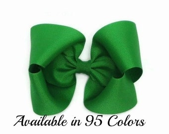 Green Hair Bow, 5 Inch Bow, Girls Hair Bows, Hair Bows, Hair Bows for Toddlers, Hairbows, Hair Bows for GIrls, Baby Hair Bows, Bows, 500