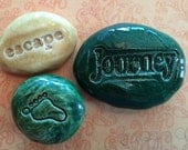 Lot of 3 Pocket Stones - JOURNEY - FOOTPRINT - ESCAPE - Inspirational Art Pieces by Inner Art Peace