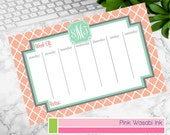 Personalized Weekly Desk Calendar Monogrammed Desk Calendar Custom Meal Planner Chore Chart Choose Colors