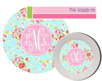 Personalized Plate and Bowl Set Monogrammed Melamine Dinnerware Personalized Melamine Dishes Floral Plate Bowl