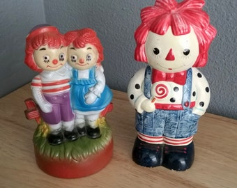 Raggedy Ann and Andy Vintage Figures Set of 2 - Fitz and Floyd