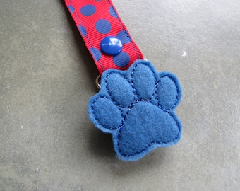 Pacifier Leash Paci Clip - Blue Puppy Paw Feltie Metal Pacifier Clip