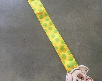 Pacifier Leash Paci Leash - Yellow with Lime Green Dots Ribbon