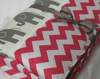 """Baby Play Mat Padded Floor Blanket Personalize Gray Elephants Pink Chevron Quilt Girls Tummy Time Newborn Gift Baby Shower Nap Mat 35"""" x 35"""""""