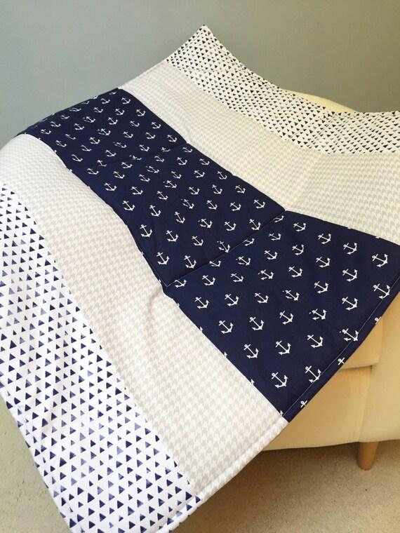 Baby play mat padded floor blanket anchors navy gray white for Floor quilt for babies