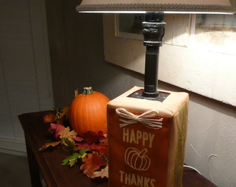 Happy Thanksgiving lamp cover. Thanksgiving decoration. Autumn desk or dresser lamp decor. Thanks-Giving LampSock©. LAMP SOLD SEPARATELY.
