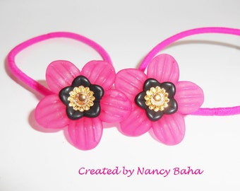 Bright Pink Flower Pony Tail Elastics, Pony Tail Ties, Hair Accessories, Flower Girl Hair Accessory. Hair Elastics,  PT233