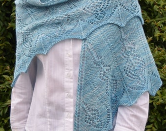 Lace Triangle Knit Shawl Pattern - AETHERIA SHAWL Knitting Pattern PDF - Instant Download