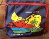 ViNTAGE AMPAK HOLIDAYS Honolulu, Hawaii Carry On Luggage Tote Bag, Blue Vinyl Summer Beach Bag