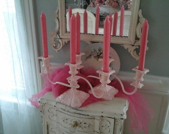 Pair of Paris pink candelabra