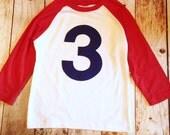 Ready to ship -navy blue NUMBER 3 on sports baseball Red and White Raglan Birthday tShirt- size 4 boys Birthday Shirt kids 1 2 3 4 5 6 7 8 9