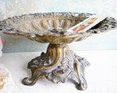 Antique Metal Bowl With Cherub Angel/Compote Pedestal Bowl/Art Deco/Art Nouveau/Calling Card Holder/Wedding Decor/Home Decor