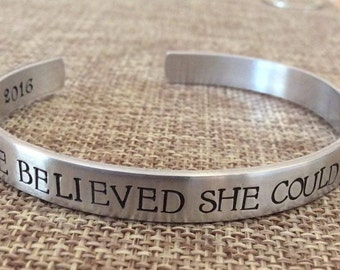 She Believed She Could So She Did Cuff Bracelet, Graduation Bracelet, Promotion Cuff Bracelet, Graduation Gift, Mantra Bracelet