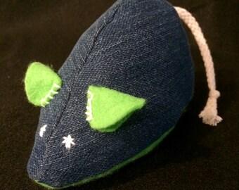 RatTony Catnip Toy - denim/neon green