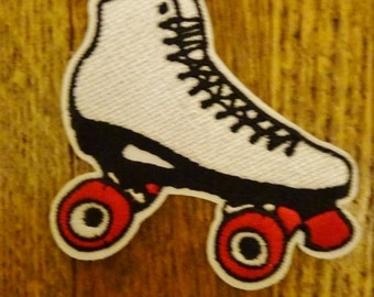 Roller Skate Embroidered Patch. Roller Derby. Iron On Skating Patch. Skating Rink. Upcycle Your Skate Gear.