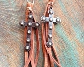 On Sale Western copper and pearl cross with saddle tan deerskin leather fringe earrings